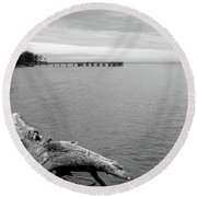 Gray Day On The Bay Round Beach Towel