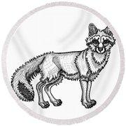 Gray Fox Round Beach Towel