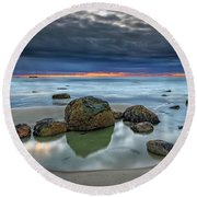 Round Beach Towel featuring the photograph Gray Morning On Wells Beach by Rick Berk