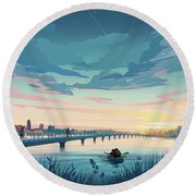 Round Beach Towel featuring the drawing Grays Lake by Clint Hansen