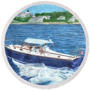 Round Beach Towel featuring the painting Great Ackpectations Nantucket by Dominic White