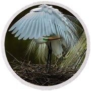 Great Egret Beauty Round Beach Towel