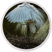 Great Egret Beauty Round Beach Towel