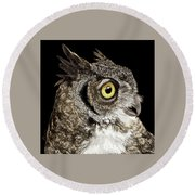Great-horned Owl Round Beach Towel
