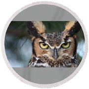 Round Beach Towel featuring the photograph Great Horned Owl Eyes 51518 by Rick Veldman
