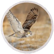 Great Horned Owl In Flight Round Beach Towel