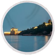 Great Wall At Night Round Beach Towel
