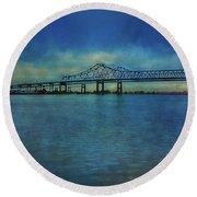 Greater New Orleans Bridge Round Beach Towel