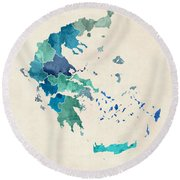 Greece Watercolor Map Custom Text Round Beach Towel
