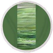 Green Abstract Meditative Brush Strokes I Round Beach Towel