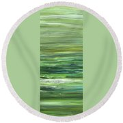 Green Abstract Meditative Brush Strokes II Round Beach Towel