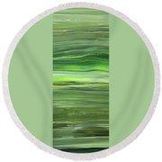 Green Abstract Meditative Brush Strokes IIi Round Beach Towel