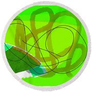 Green Abstract Round Beach Towel