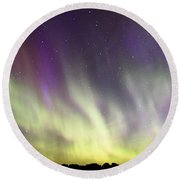 Green And Purple Fire In The Sky Round Beach Towel