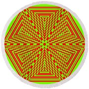 Green And Red Fusion  Round Beach Towel