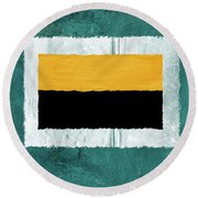 Green And Yellow Abstract Theme V Round Beach Towel