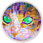 Green Eyed Cat Abstract Round Beach Towel