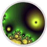 Green Glowing Bliss Abstract Round Beach Towel