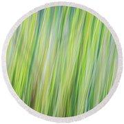 Green Grasses Round Beach Towel