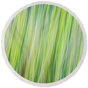 Green Grasses Round Beach Towel