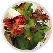 Green Leaves And The Red Flower Round Beach Towel