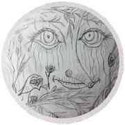 Green Man Of The Forest Round Beach Towel