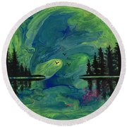 Green Pour And Pines Round Beach Towel