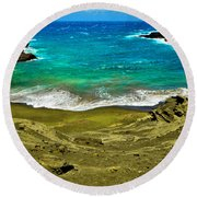Green Sand Beach Round Beach Towel