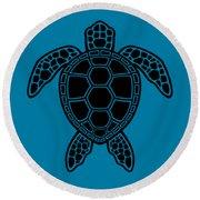 Green Sea Turtle Design - Black Round Beach Towel