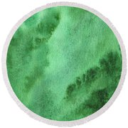 Green Splashes And Glow Abstract Watercolor  Round Beach Towel