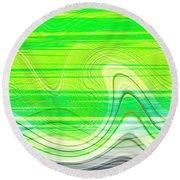 Green Waves Round Beach Towel