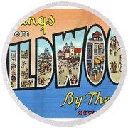 Wildwood Greetings - Version 4 Round Beach Towel