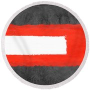 Grey And Red Abstract Vi Round Beach Towel