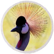 Round Beach Towel featuring the painting Grey Crowned Crane Gulf Shores Bl A101218 by Mas Art Studio