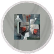 Round Beach Towel featuring the painting Reflections by Val Byrne