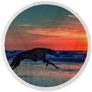 Greyhound Running On Beach Round Beach Towel