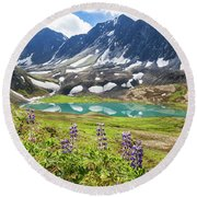 Grizzly Bear Lake Round Beach Towel