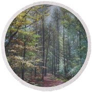 Group Of Trees In The New Forest. Round Beach Towel