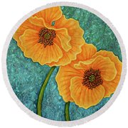 Round Beach Towel featuring the painting Growing Optimism by Amy E Fraser