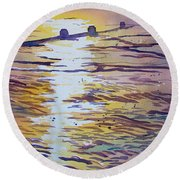 Groynes And Glare Round Beach Towel
