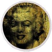 Grunge Marilyn Monroe In Gold 48x48 Huge Pop Art  Round Beach Towel