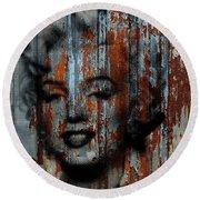 Grunge Marilyn Monroe Rusty Patina Painting Silkscreen Halftone Round Beach Towel