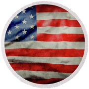 Grunge Usa Flag Round Beach Towel