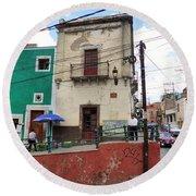Round Beach Towel featuring the photograph Guanajuato Street Corner by Rosanne Licciardi