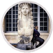 Round Beach Towel featuring the photograph Guardians Of Picasso's Museum by Craig J Satterlee