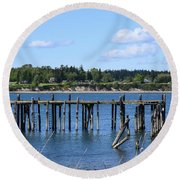 Guemes Island And Old Pier Round Beach Towel