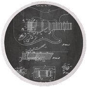 Guitar Tremelo Patent, Fender Tremelo Art - Chalkboard Round Beach Towel