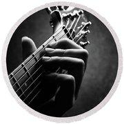 Guitarist Hand Close-up Round Beach Towel