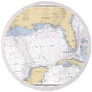 Gulf Of Mexico, Noaa Chart 411 Round Beach Towel