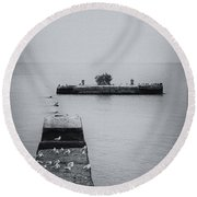 Round Beach Towel featuring the photograph Gulls On The Pier by Guy Whiteley